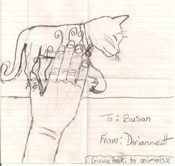 A Sketch of a cat receiving Reiki