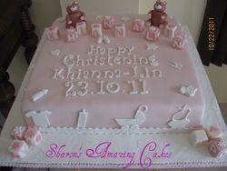 CAKE 08BABY -Teddy Bear & Blocks Christening Cake