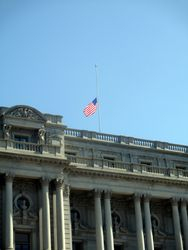 Flag Above West Façade at Thomas Jefferson Building at Half Staff to Honor Lying in Repose of Associate Supreme Court Justice Ruth Bader Ginsburg from Northwest