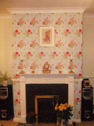 Cath Kidston wallpaper in chimney breast feature wall