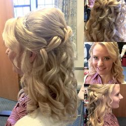 Stunning half up down curls for Sarah our Beautiful Bride