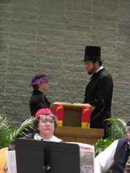 President Lincoln reads letter to Mrs Bixby