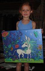 Sammie with 'Sammie's Unicorn'