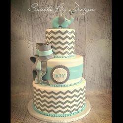Blue Elephant Chevron Shower Cake