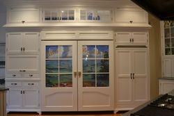 Custom Sub Zero Ref. & Freezer doors & hidden microwave & double ovens