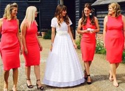 Emmas bridesmaids all had a different hair style from straight to curly and loose curls with a quiff