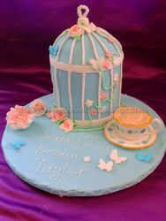 Vintage Birdcage and teacup birthday cake