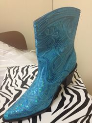 Cute blue bling boots