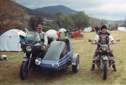 1994 Eli and Bjorn travelling in style