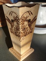 Humming Bird Wooden Vase