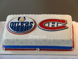 Edmonton Oilers and Montreal Canadiens Logo Wedding cake