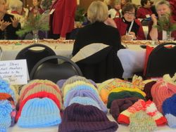 Hats knitted by members for needy children