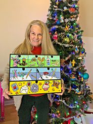 My Mom, Noel, with the craft box I painted for her for Christmas 2017!