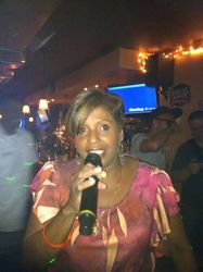 Mara bringing her singing style and grace to the crowd at Carmen & Patty's Birthday Celebration (502 Bar Lounge's Social Saturday Karaoke Night)!