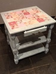 Painted Table in duck egg with decoupaged top.