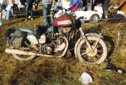 "1993 A classic matchless Chris McArdles K100/HRD sidecar & ""DJ"" the dog in the background"