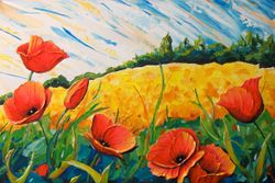 Summer Wheatfield Poppies.  36 x 24