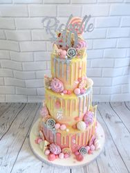 40th birthday pink and silver drip cake