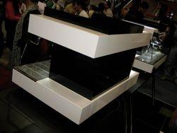 A futuristic coffee machine a the trade show Mexico City