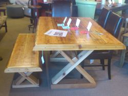 Cedar table and bench set