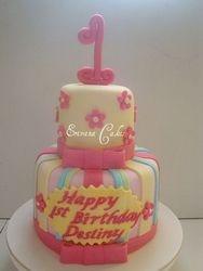 Fuschsia Pink and Yellow Cake (B118)