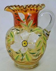 (Enameled)  Magnolia and Drape crimped top pitcher, marigold