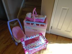 Baby Doll Nursery Center, Stroller, Carrier, Pack N Play, & Doll - $50