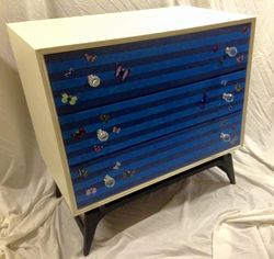 Funky stripes and butterflies, chest of drawers