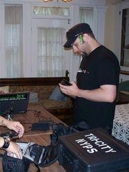 Gary Robusto setting up equip