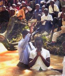 Kenyan's being baptized