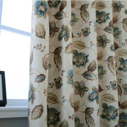 Blackout Floral Print Curtain Panels with Grommet Top