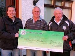 Paul McEvoy receives his Cheque