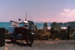 Tom's GS450 at the 12 Apposles on The Great Ocean Road - Dec 1989
