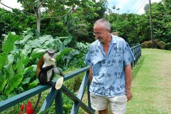 John feeding a well-behaved monkey