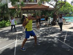 Running a boxing session in Bali