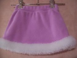 Fleece Lavender skirt with fake fur trim size 24 mths