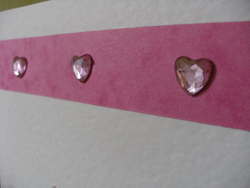Triple Pink Crystal Heart Cerise Close up