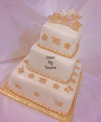 Gold and white square cake