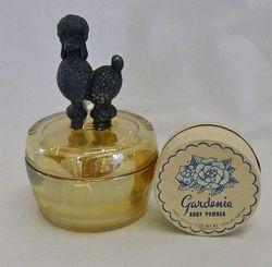 Poodle powder bowl, marigold and black, manufacturer?