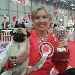 Jarppi and I after winning Best Puppy In Show under Mr Ronnie Irvine (UK)