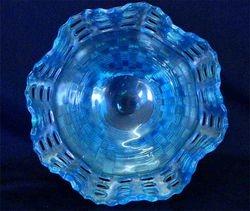 Open Edge basket, three row, ruffled bowl, celeste blue