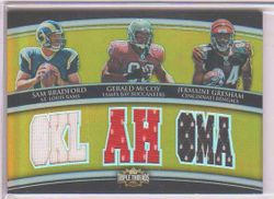 2010 TRIPLE THREADS SAM BRADFORD JERMAINE GRESHAM GERALD MCCOY JERSEY ROOKIE CARD 8/9