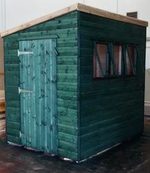 Pent Shed With 3 Windows And Side Door (8' x 6')