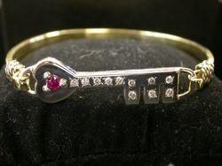 Ruby and Diamond Key Bracelet