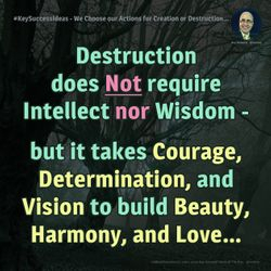 #KeySuccessIdeas - We Choose our Actions for Creation or Destruction...