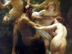 Bouguereau, Satyr Teased by Nymphs, detail, Clark Institute
