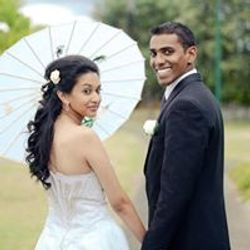 Beautiful couple under a gorgeous parasol
