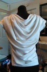Ivory Moleskin Drapped Bib Shirt w/ Hood
