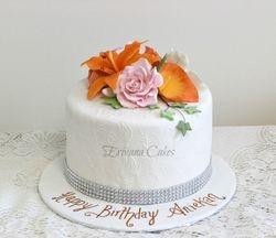Orange and Pink Birthday Cake