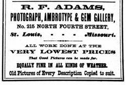 R. F. Adams, photographer, St. Louis